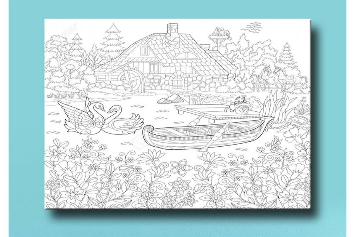 Çocuklar için renkli boyama tablo bym18 (boyama kalem seti hediyeli)