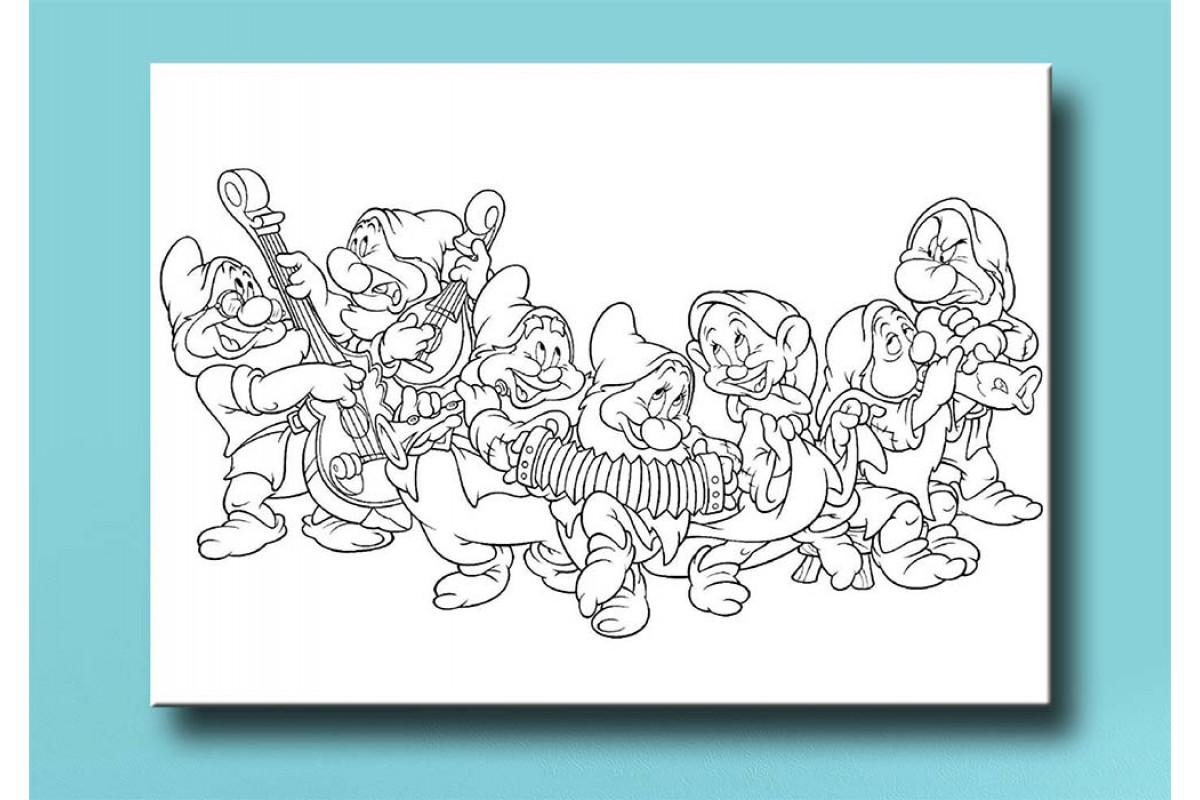 Çocuklar için renkli boyama tablo bym20 7 Cüceler (boyama kalem seti hediyeli)