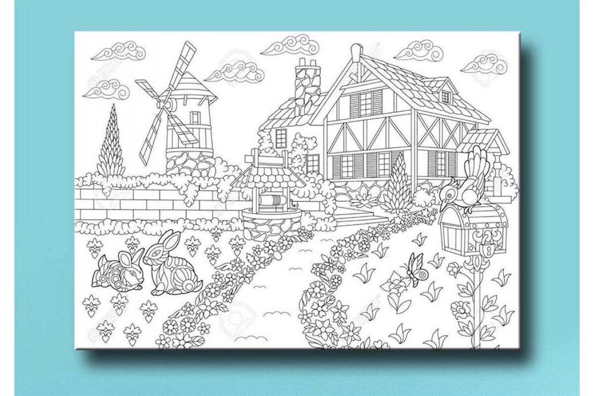 Çocuklar için renkli boyama tablo bym23 (boyama kalem seti hediyeli)