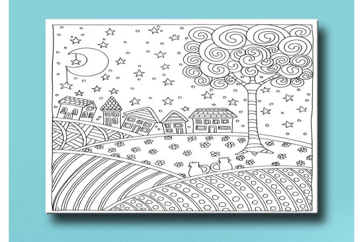 Çocuklar için renkli boyama tablo bym24 (boyama kalem seti hediyeli)