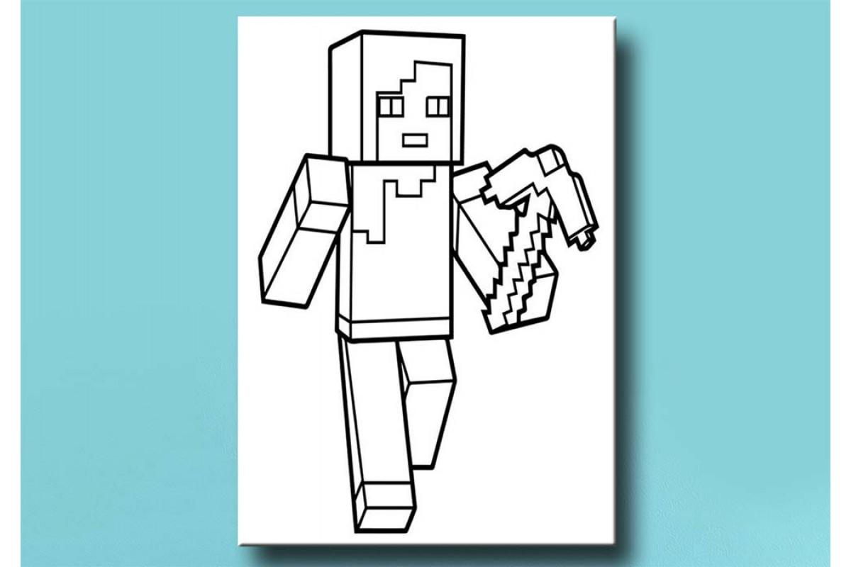 Çocuklar için renkli boyama tablo Minecraft bym49 (boyama kalem seti hediyeli)