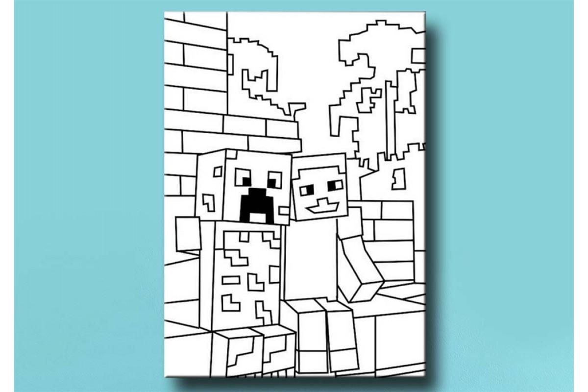 Çocuklar için renkli boyama tablo Minecraft bym50 (boyama kalem seti hediyeli)