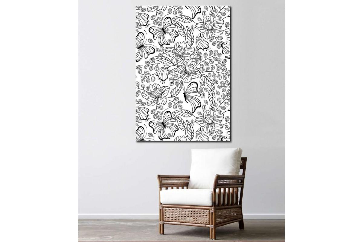 srby1 - Çiçekler ve Kelebekler Yetişkinler için Boyama Mandala Kanvas Tablo