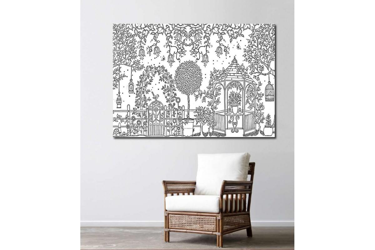srby2 - Bahçede Çiçekler ve Ağaçlar Yetişkinler için Boyama Mandala Kanvas Tablo