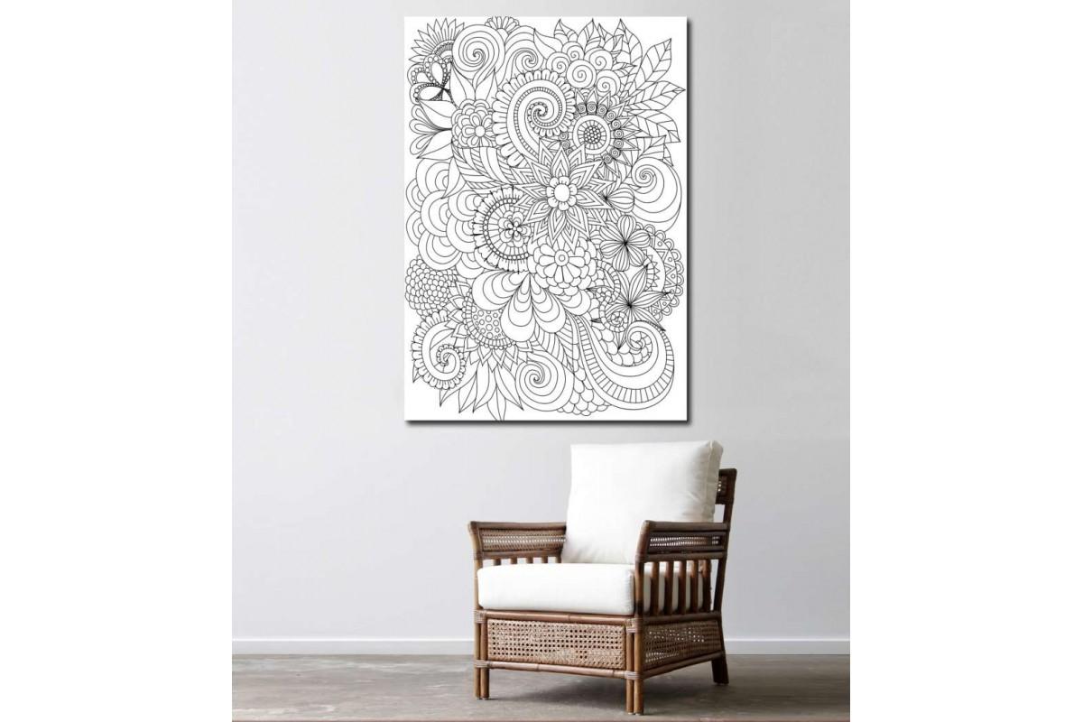 srby8 - Çiçekler ve Yaprak Desenli Yetişkinler için Boyama Mandala Kanvas Tablo