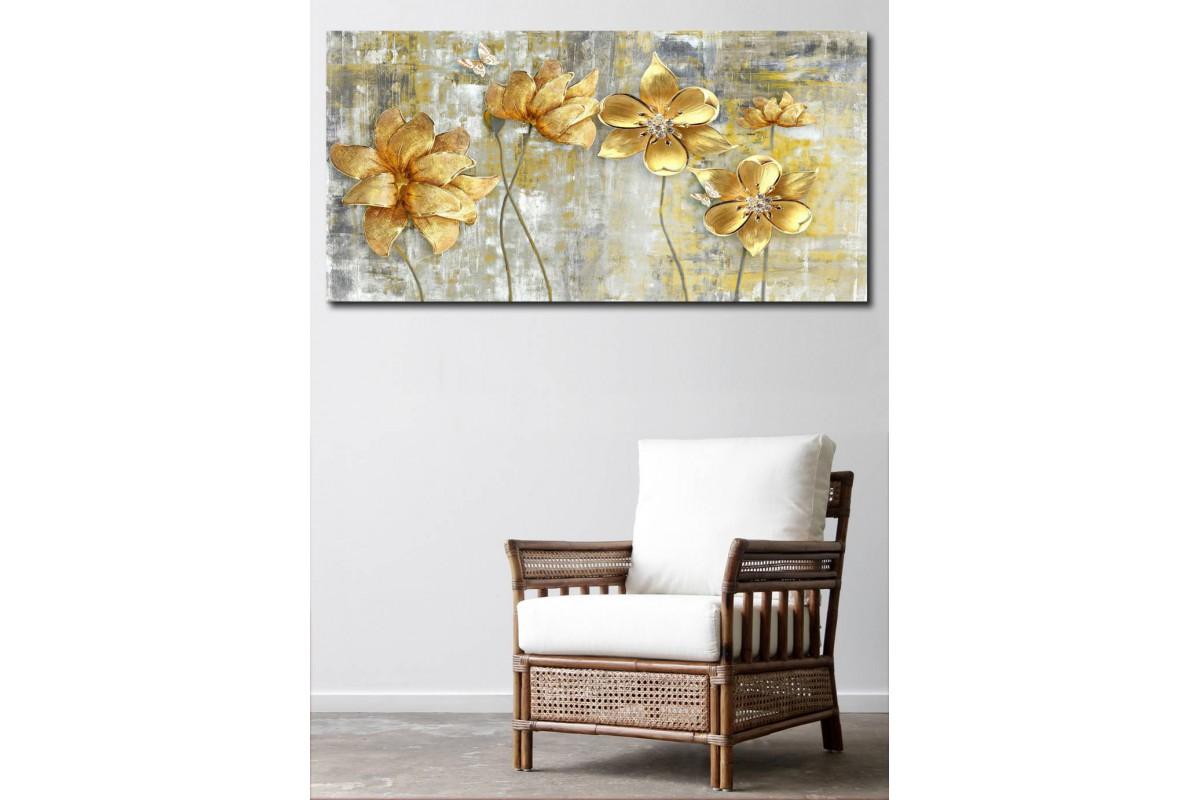 srfl17 - Altın Rengi Çiçekler ve Kelebekler Dekoratif Kanvas Tablo