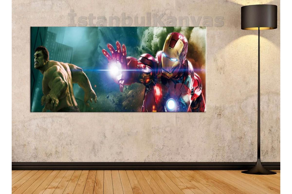 wsh28b - Hulk - Iron man - Çizgi Roman - Süper kahraman Kanvas Tablo