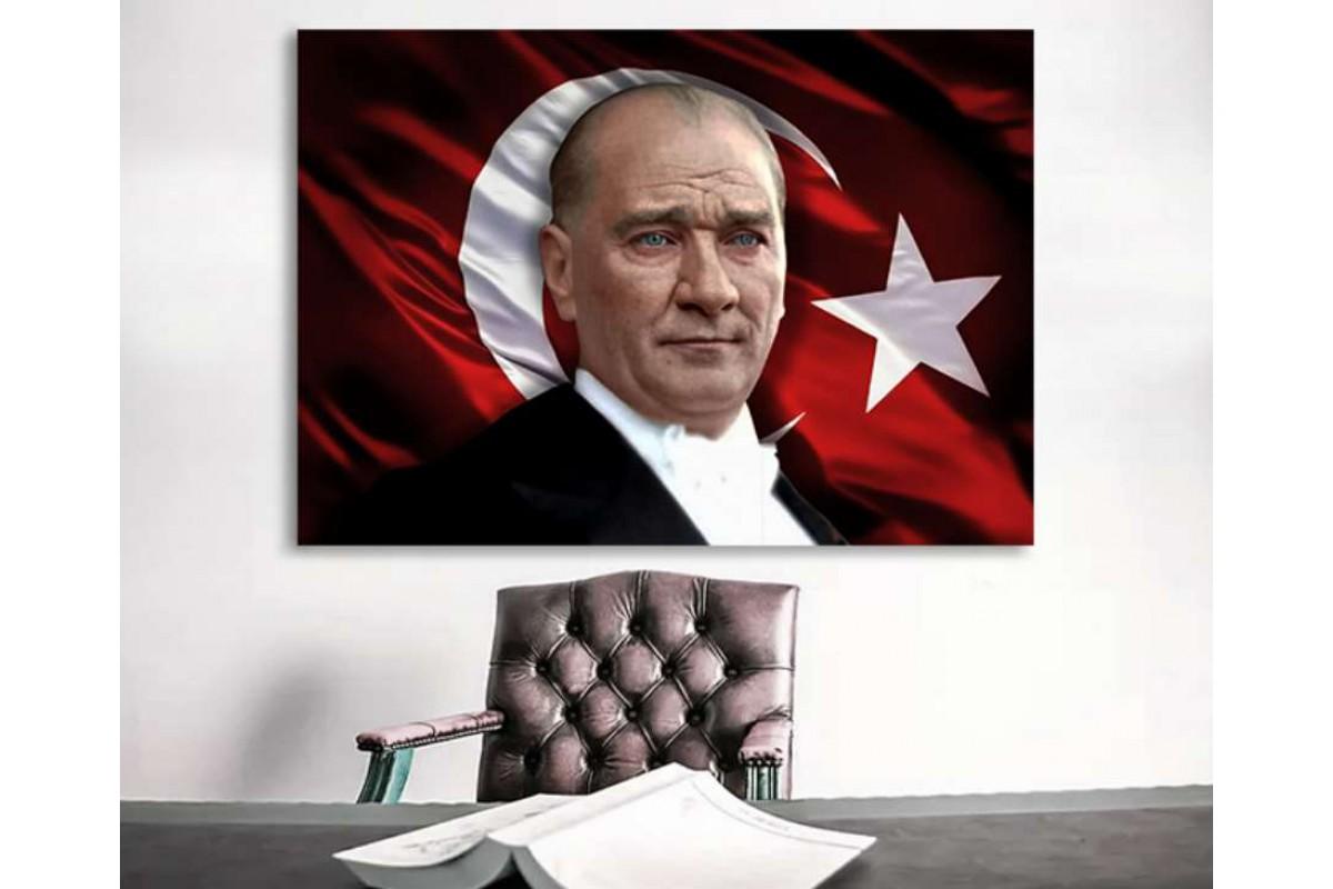 skra23 - Özel Tasarım Renkli Mustafa Kemal Atatürk ve Türk Bayrağı Kanvas Tablo