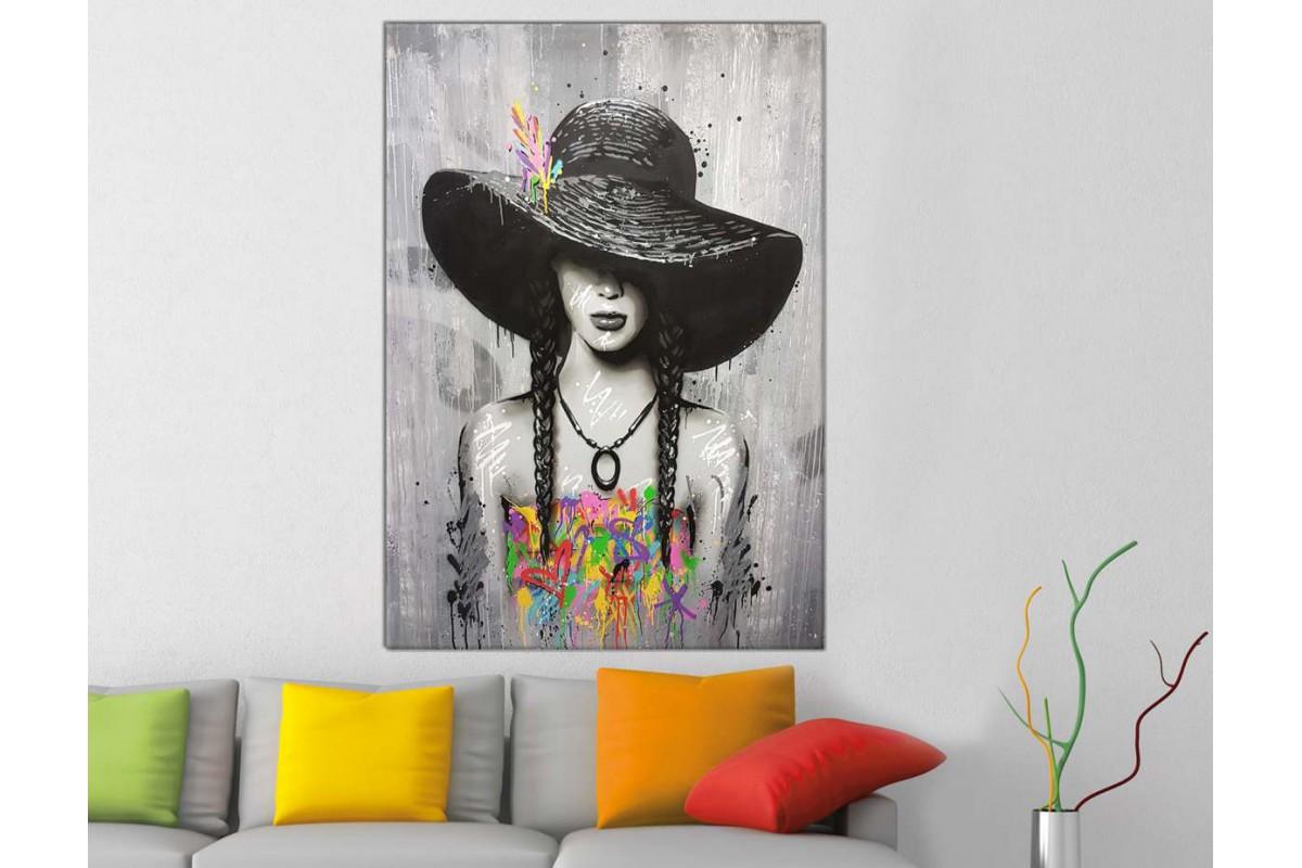 skrd45 - Yağlı Boya Görünümlü Şapkalı Kadın Dekoratif Kanvas Duvar Tablosu