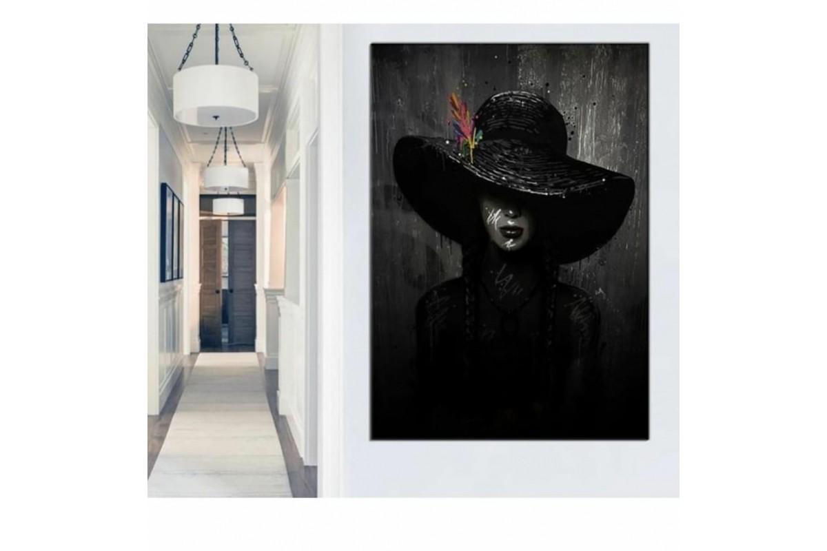 skrd45b - Yağlı Boya Görünümlü Siyah Şapkalı Kadın Dekoratif Kanvas Duvar Tablosu