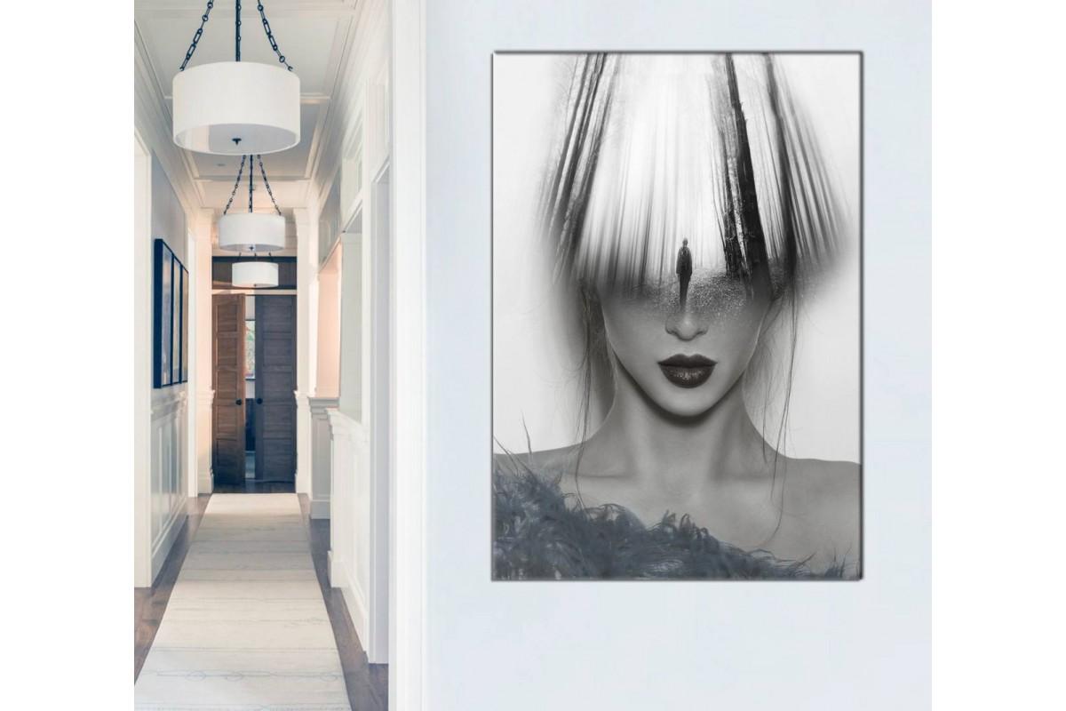 srkd47 - Güzel Kadın ve Aklından Geçenler Dekoratif Sürrealist Kanvas Tablo