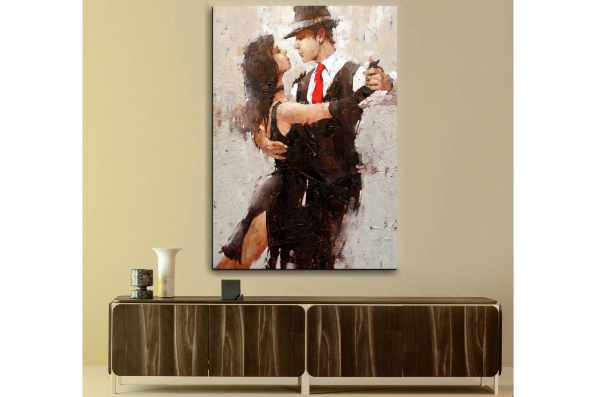 srd26 - Tango Yapan Çift Yağlı Boya Görünümlü Kanvas Duvar Tablosu