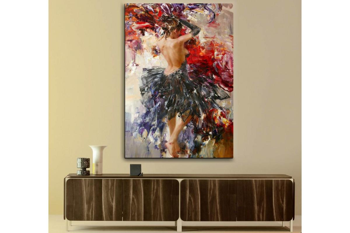 srd27 - Yağlıboya görünümlü Dans Eden Çıplak Kadın Dekoratif Kanvas Duvar Tablosu