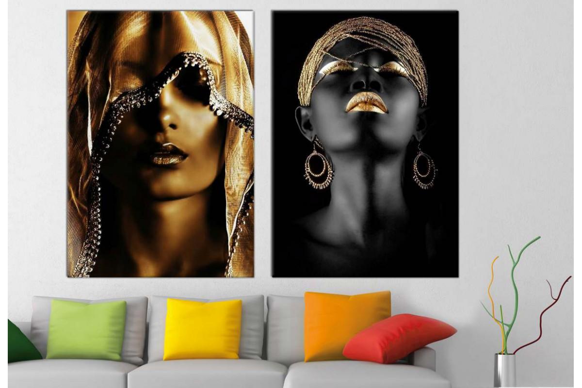 srda5e_2p - Altın ve Gümüş Rengi Siyah Makyajlı Afrikalı Kadınlar Kanvas Tablolar - 2 adet
