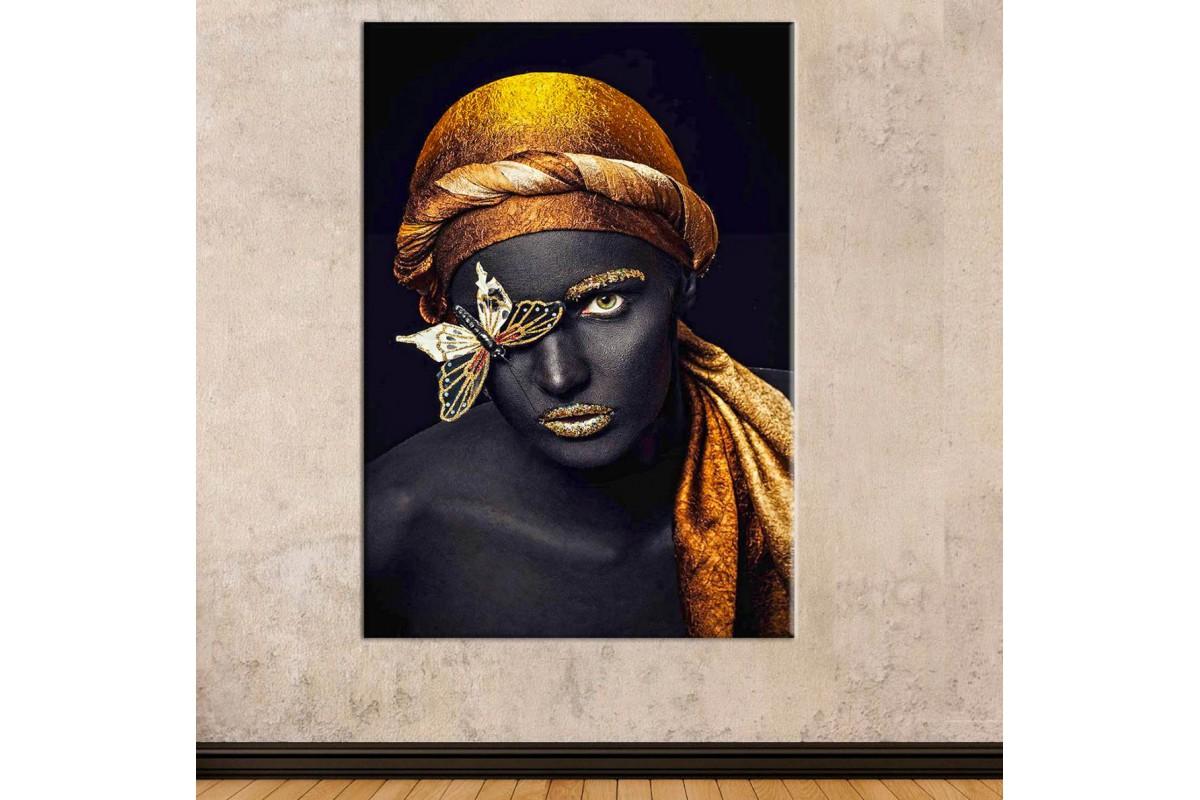 srda6 - Siyah ve Altın Makyajlı Eşarplı Kadın ve Kelebek Kanvas Tablo