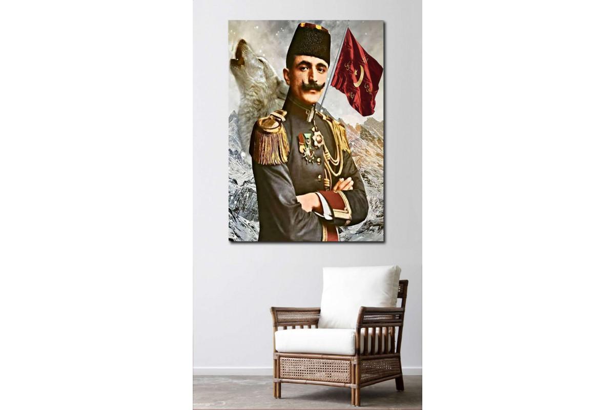 srep1 - Enver Paşa, Bozkurt ve İttihat Bayrağı kanvas tablo