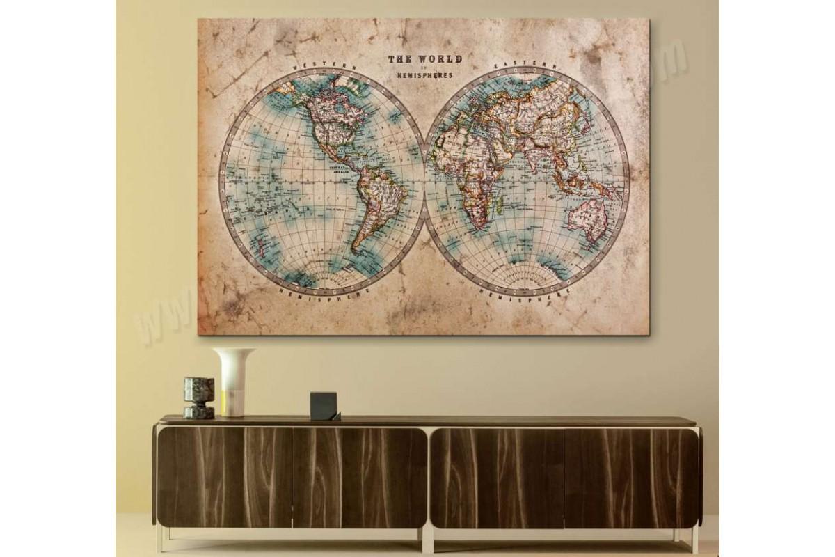 srh29b - 18.yy Küre Dünya Haritası Dekoratif Kanvas Tablo