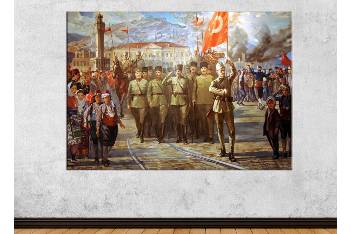 srka19 - Atatürk ve Türk Ordusu'nun İzmir'e Girişi kanvas tablo