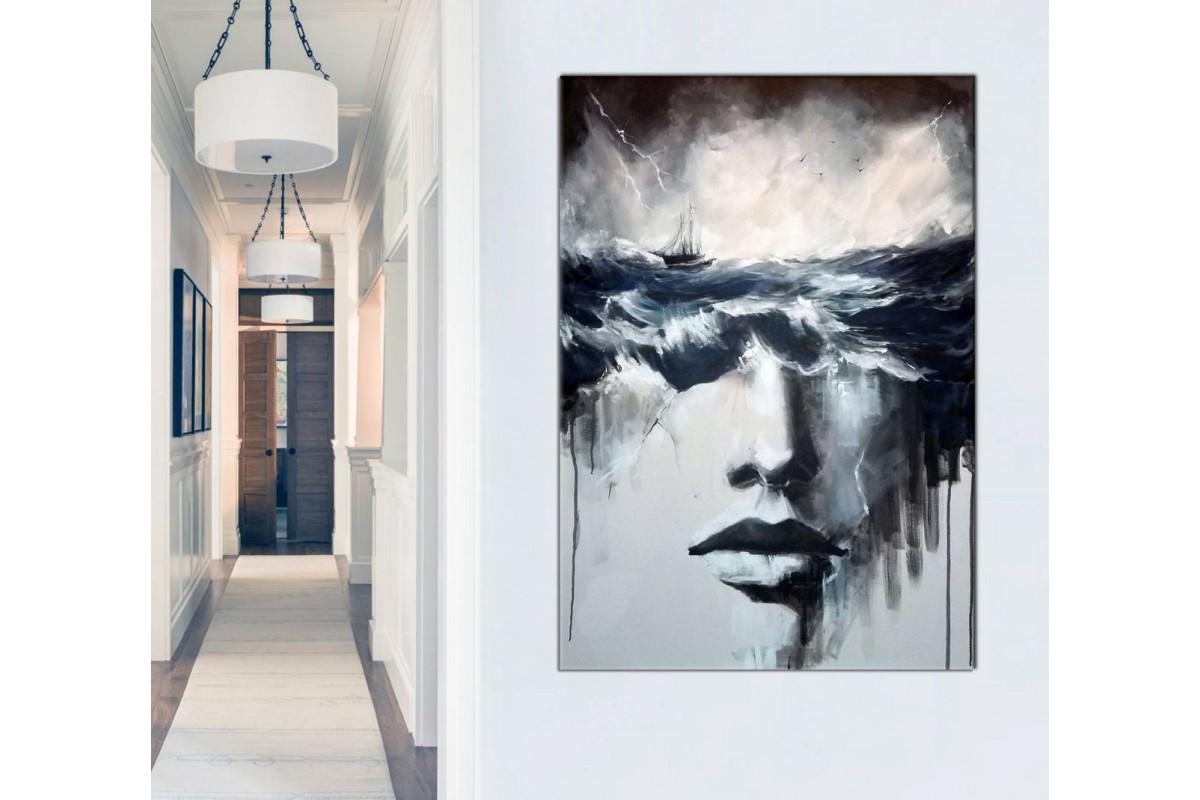 skrd49 - Beyninde Fırtınalar Kopan Kadın, Sürrealist Kanvas Tablo