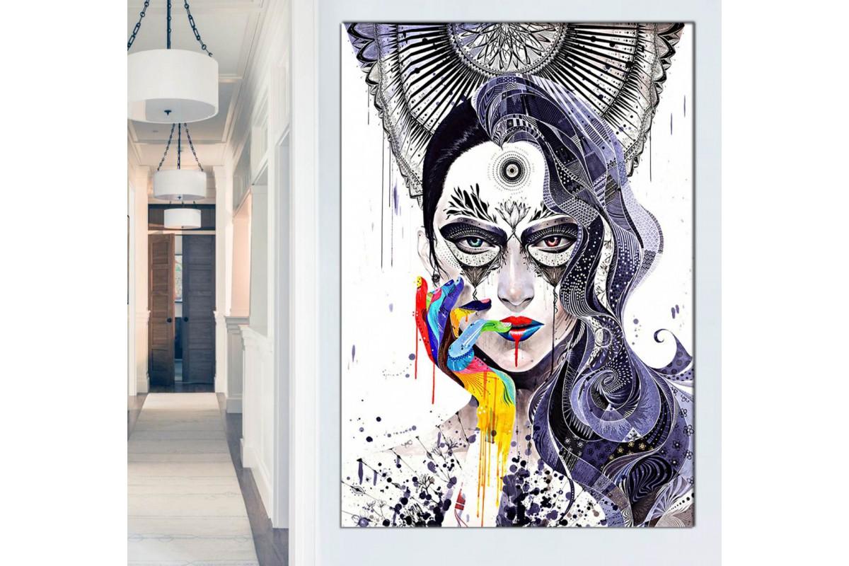 srkd52 - Ellerinden Boya Akan Kadın, Dekoratif Soyut Kanvas Tablo