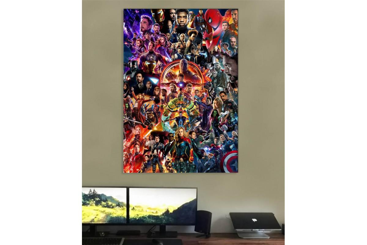 srsh45 - Marvel Sinematik Evreni Tüm Kahramanlardan Oluşan Kolaj Kanvas Tablo