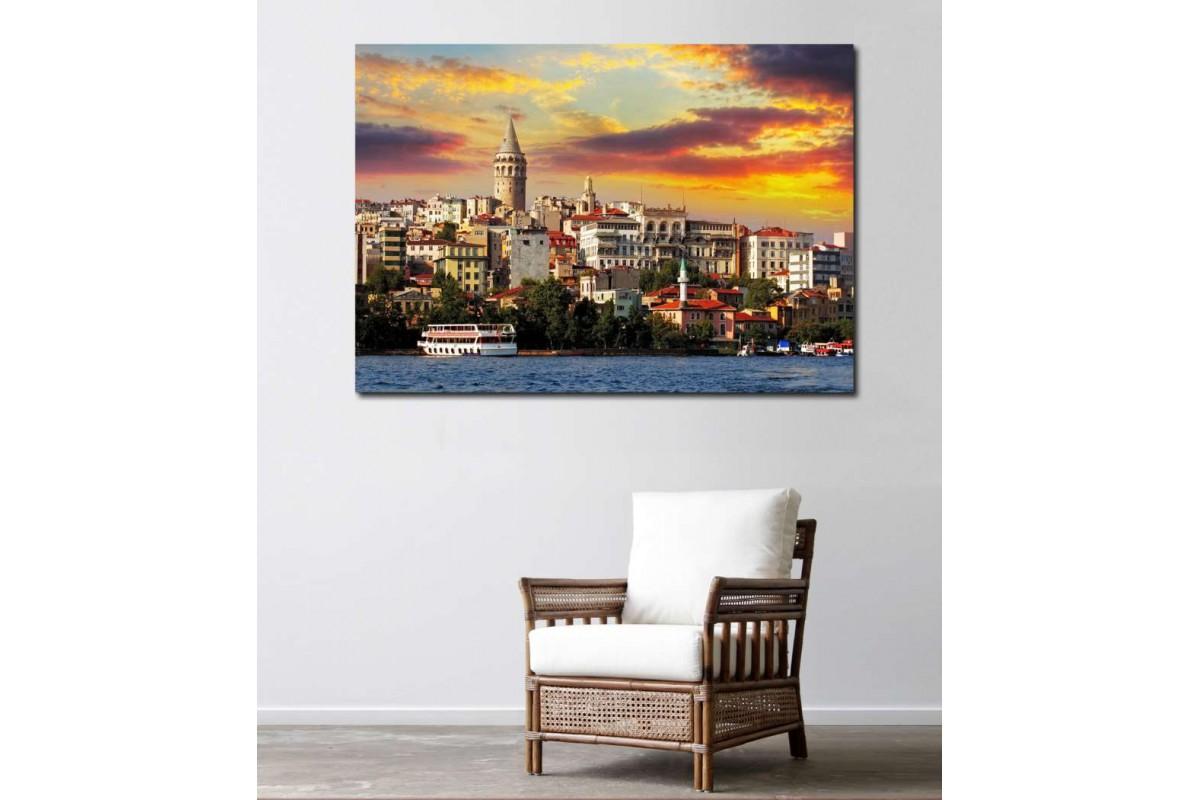 srts11 - Karaköy Galata Kulesi Manzaralı Kanvas Tablo
