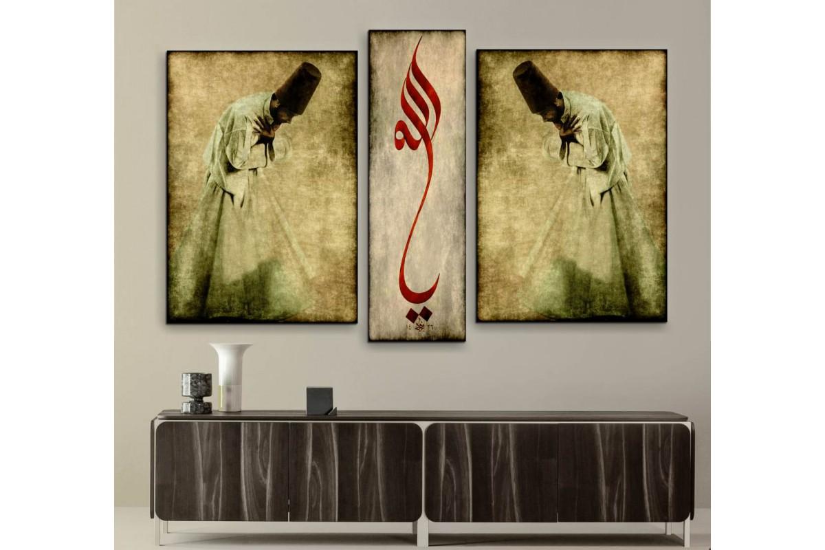 srsz123_3p - Selam Veren Semazenler ve Hu Allah Hat Yazısı Özel Tasarım Kanvas Tablo Seti
