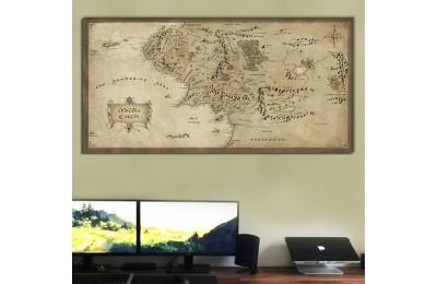 srye96b - Eskitme Görünümlü Orta Dünya Haritası Kanvas Tablo 50x100cm